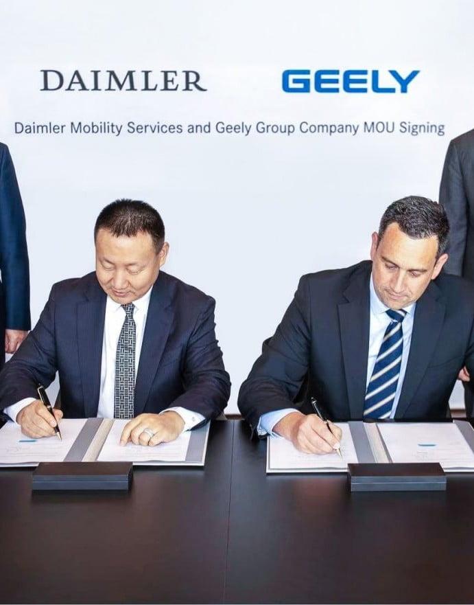 Geely Group Company y Daimler Mobility services forman una empresa conjunta de transporte de alta calidad en China